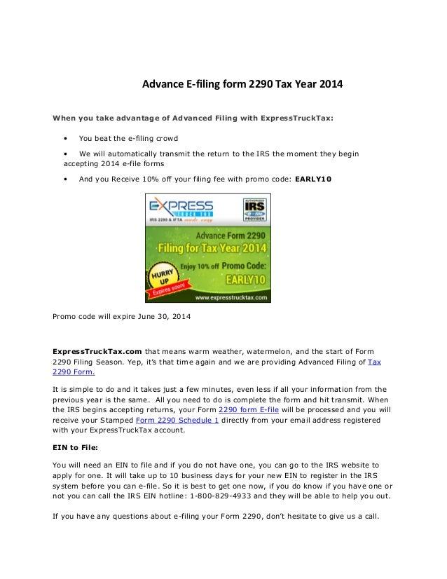 2290 form e file  Advance e filing form 7 tax year 7-7