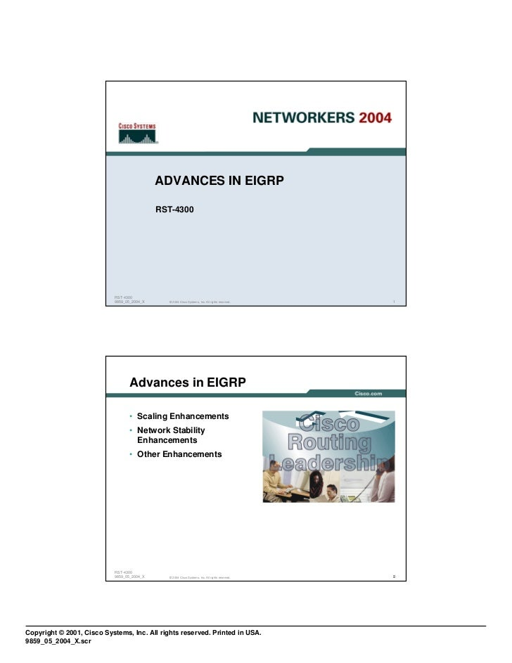 ADVANCES IN EIGRP                                             RST-4300                            RST-4300                ...