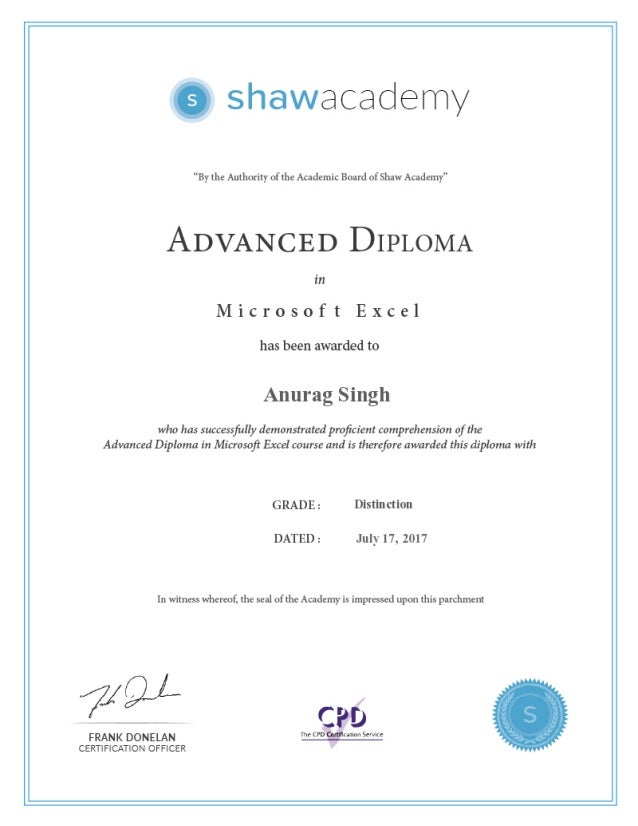 Advance Microsoft Excel Certification