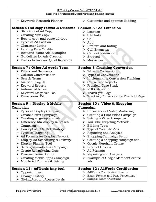 Advance Google Certified Digital Marketing Course Syllabus Pdf