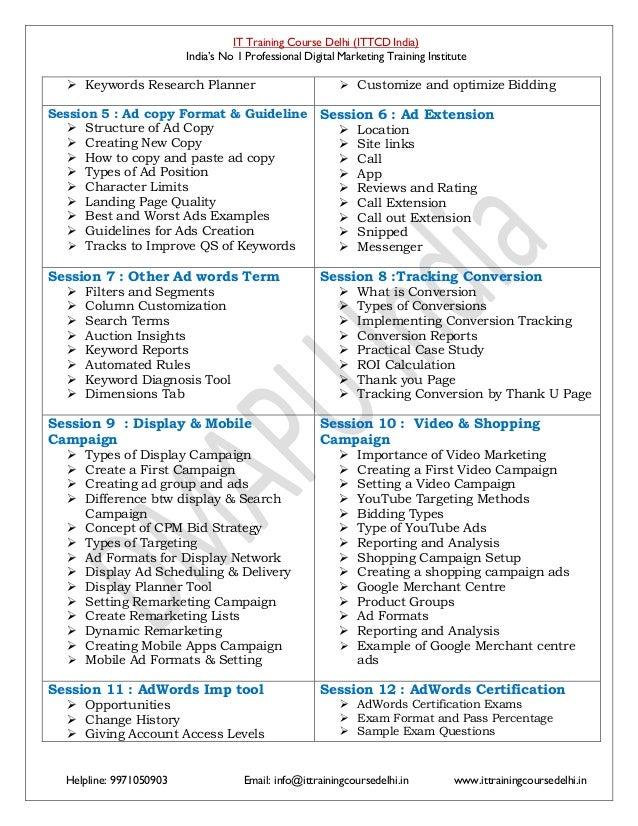 Advance Google Certified Digital Marketing Course Pdf