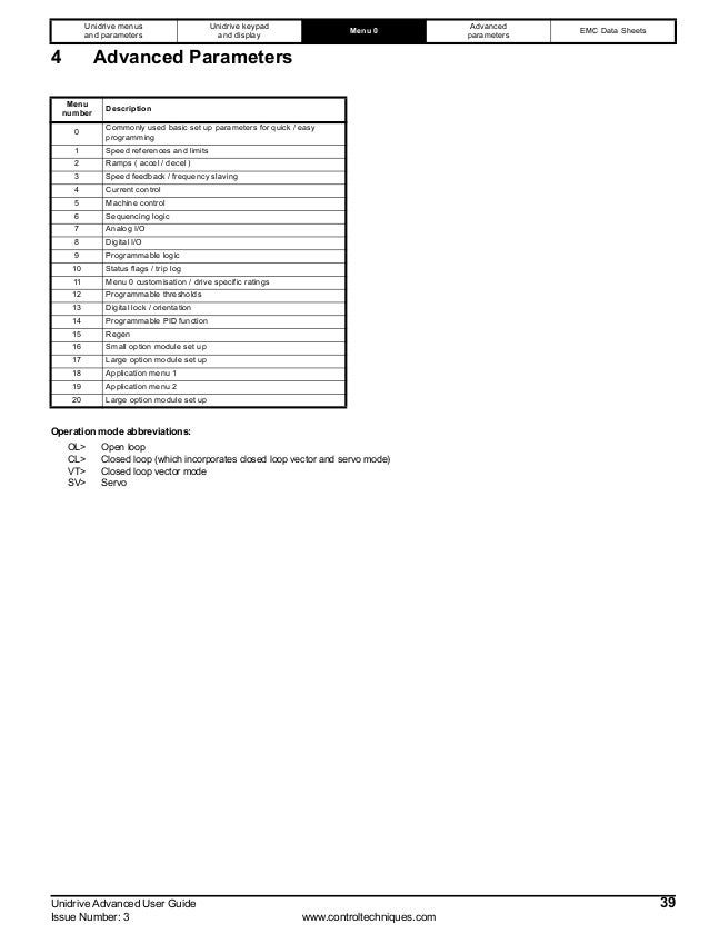 Advance guide unidrive iss3