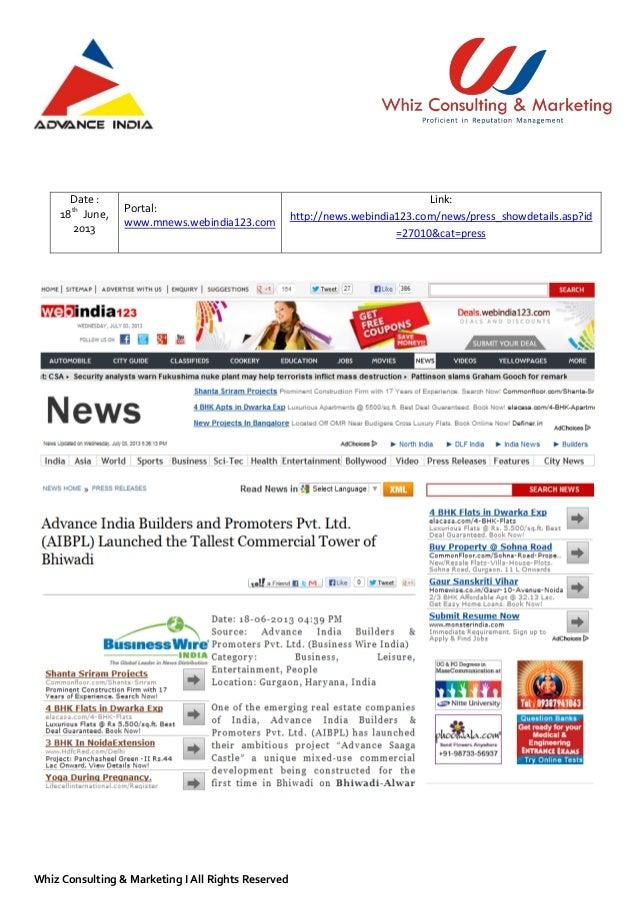 Advance India Builders & Promoter Limited (AIBPL) Media Report - PR &…