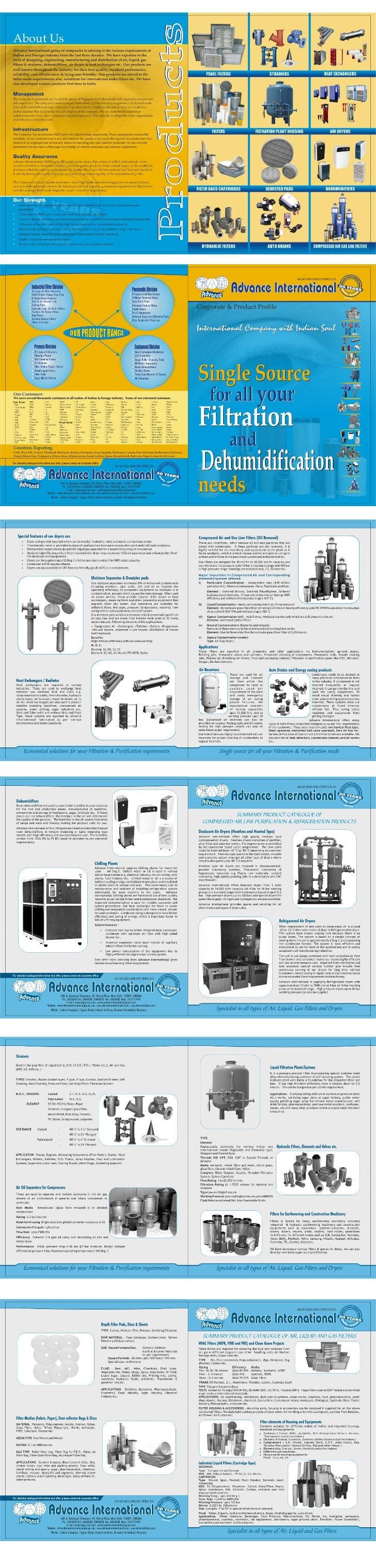 Advance International, New Delhi, Panel Filters