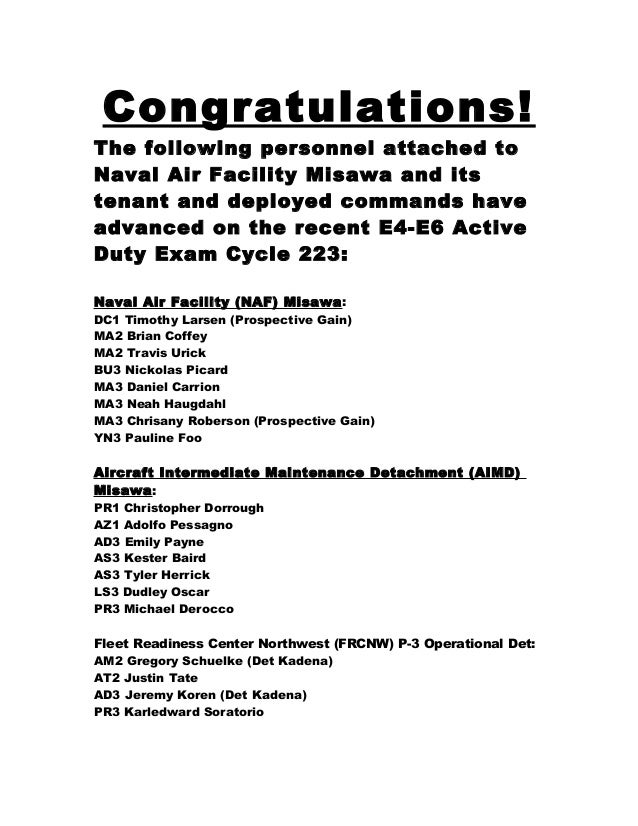 Congratulations! The following personnel attached to Naval Air Facility Misawa and its tenant and deployed commands have a...