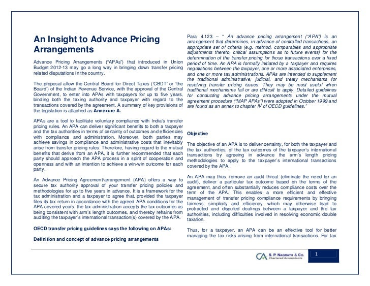 Advance Pricing Agreement