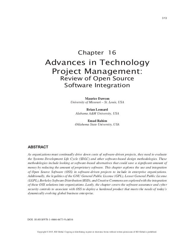 Advances in Technology Project Management: Review of Open