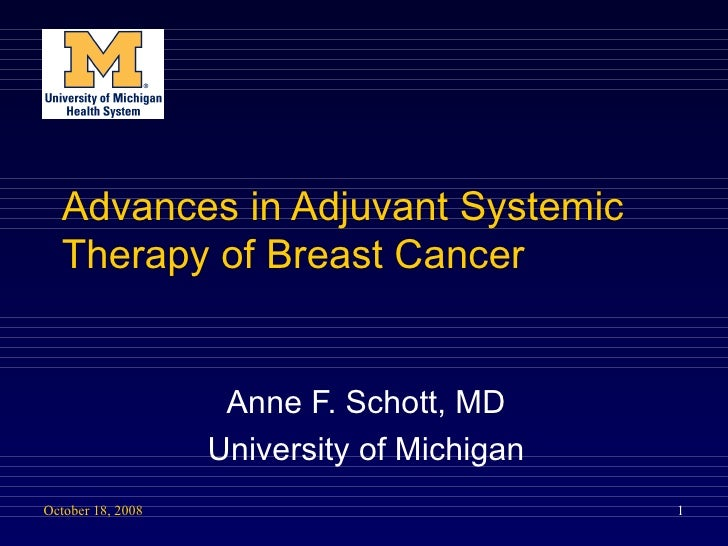 Advances in Adjuvant Systemic Therapy of Breast Cancer Anne F. Schott, MD University of Michigan