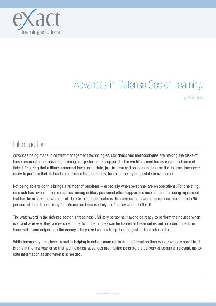 Advances in Defense Sector Learning                                                                                       ...