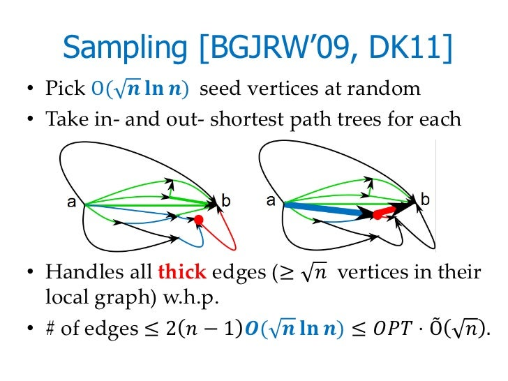 Sampling [BGJRW'09, DK11]• Pick O( ������ ������������ ������) seed vertices at random• Take in- and out- shortest path tr...