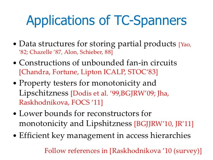 Applications of TC-Spanners   Data structures for storing partial products [Yao,    '82; Chazelle '87, Alon, Schieber, 88...
