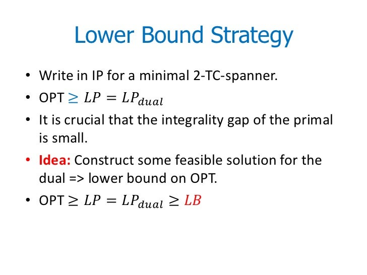 Lower Bound Strategy• Write in IP for a minimal 2-TC-spanner.• OPT ≥ ������������ = ������������������������������������• ...