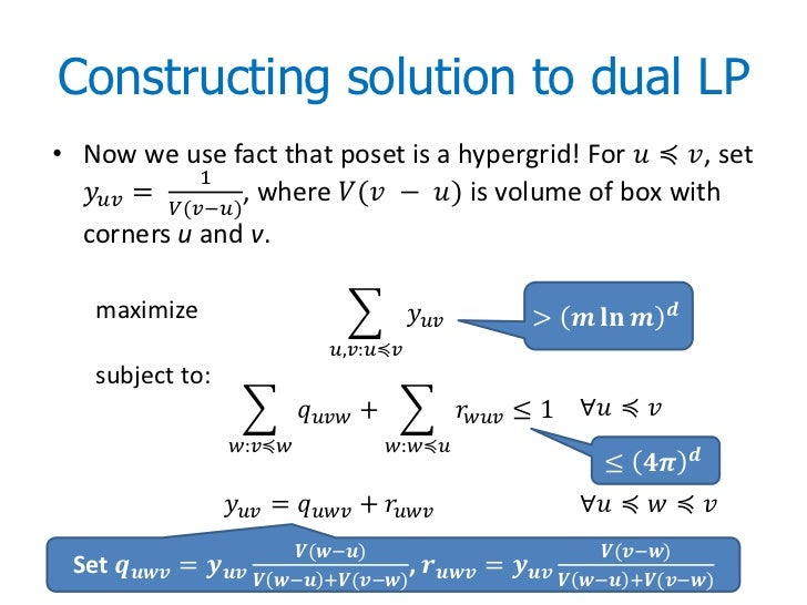 Constructing solution to dual LP• Now we use fact that poset is a hypergrid! For ������ ≼ ������, set               1  ���...