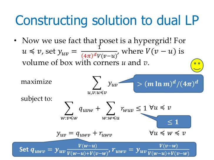Constructing solution to dual LP• Now we use fact that poset is a hypergrid! For                               1  ������ ≼...
