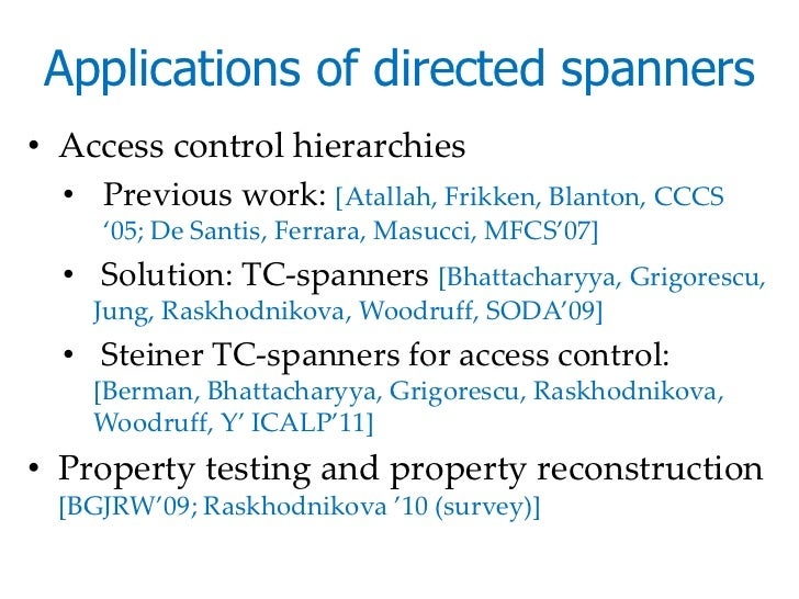 Applications of directed spanners• Access control hierarchies  • Previous work: [Atallah, Frikken, Blanton, CCCS    '05; D...