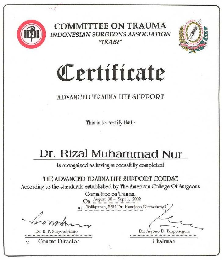 Advance trauma life support atls cert for Competency certificate template
