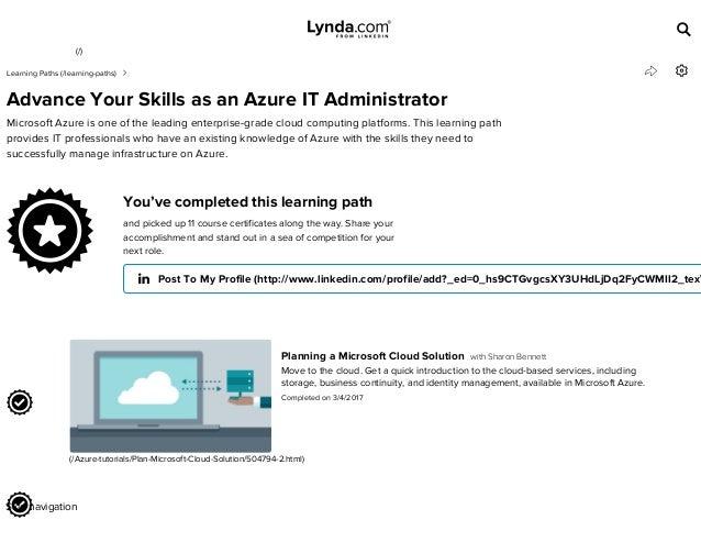 Lynda com Learning Path - Advance Your Skills as an Azure IT