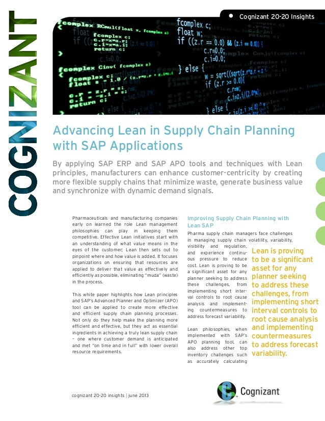 Advancing Lean in Supply Chain Planning with SAP Applications By applying SAP ERP and SAP APO tools and techniques with Le...