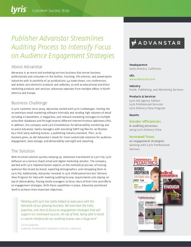 About Advanstar Advanstar is an event and marketing services business that serves business professionals and consumers in ...