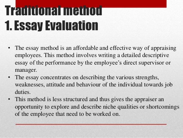 Examples Of Persuasive Essays For High School Essay Evaluation Method Performance Appraisal What Are The  Apa Essay Papers also Essay In English Literature Performance Appraisal Essay  Barcafontanacountryinncom Thesis Statement For Essay