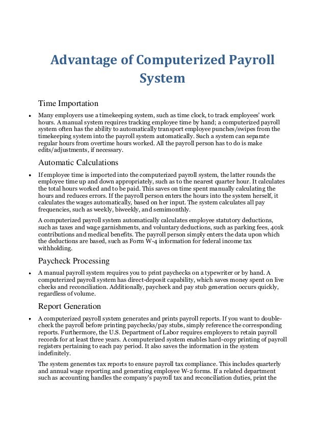 Advantage Of Computerized Payroll System