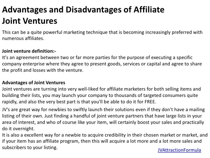 Advantages and disadvantages of affiliate joint ventures 1