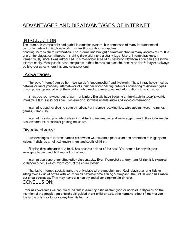Essay Writing On Internet  Underfontanacountryinncom Advantages And Disadvantages Of Internet Pdf