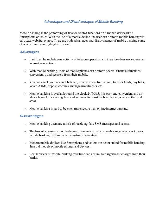 Disadvantages of mobile banking essays