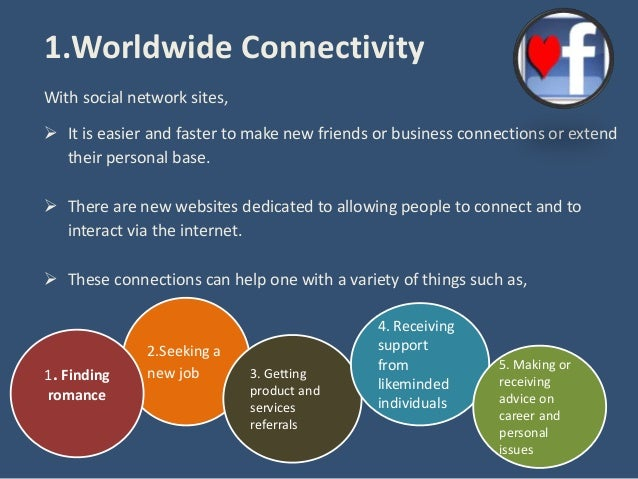 the advantages and disadvantages of social network Five advantages of social networking there are many reasons why someone may choose to take advantage of social networks online 1 worldwide connectivity no matter if you are searching for a former college roommate, your first grade teacher, or an.