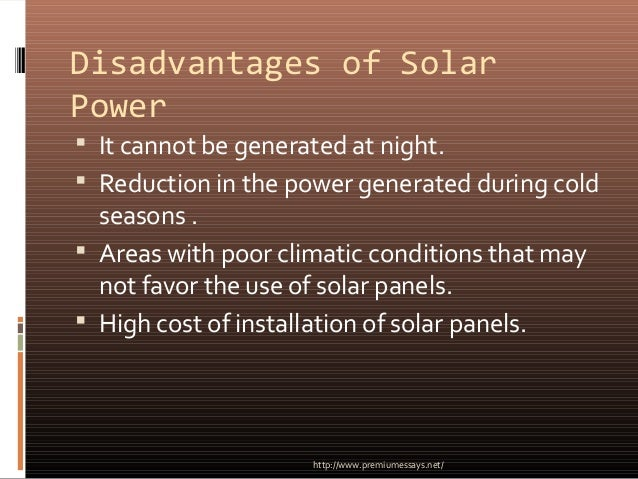 Advantages and disadvantages of solar power