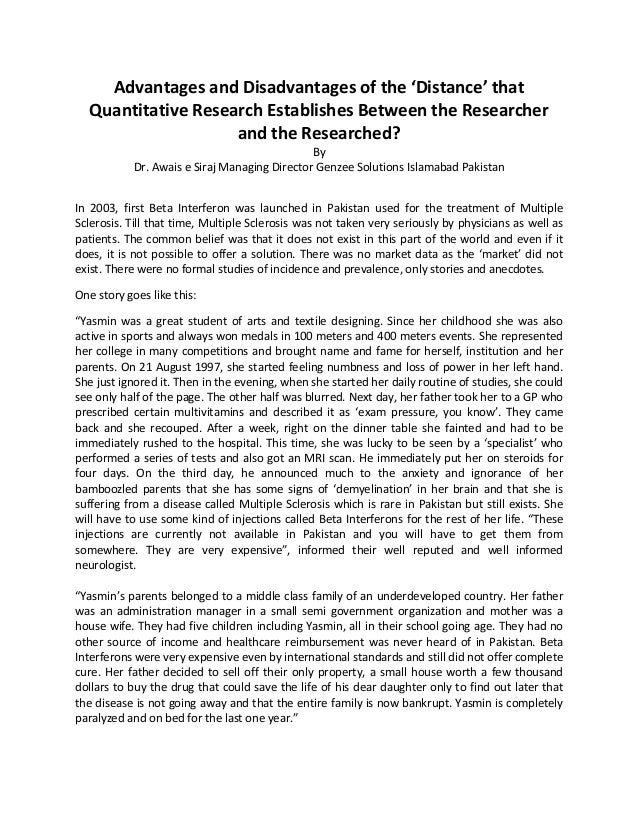 advantages and disadvantages of quantitative and qualitative research