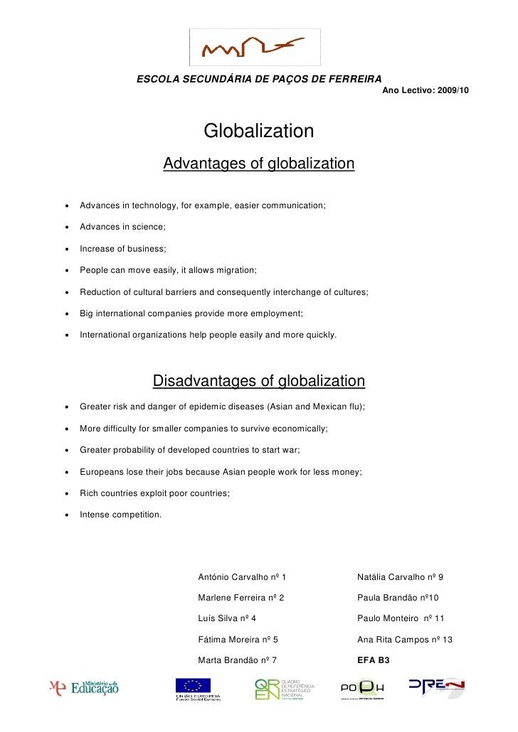 Essay about globalization advantages and disadvantages pdf