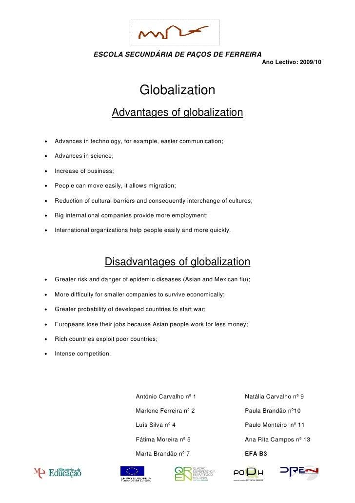 Essay about globalization advantages and disadvantages pdf