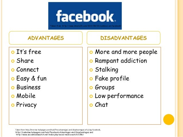 advantages of facebook Your advantages and disadvantages of using facebook essay sample free example of an essay and term paper on facebook advantages and disadvantage topics and ideas some tips how to write good academic pros and cons essays.