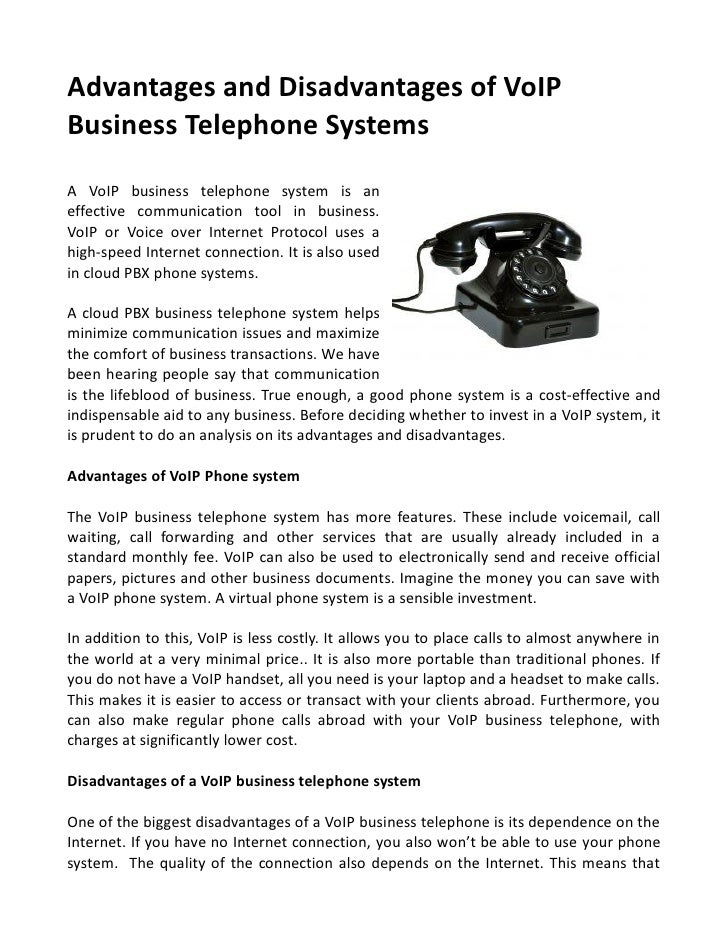 Advantages & disadvantages of vo ip business telephone systems