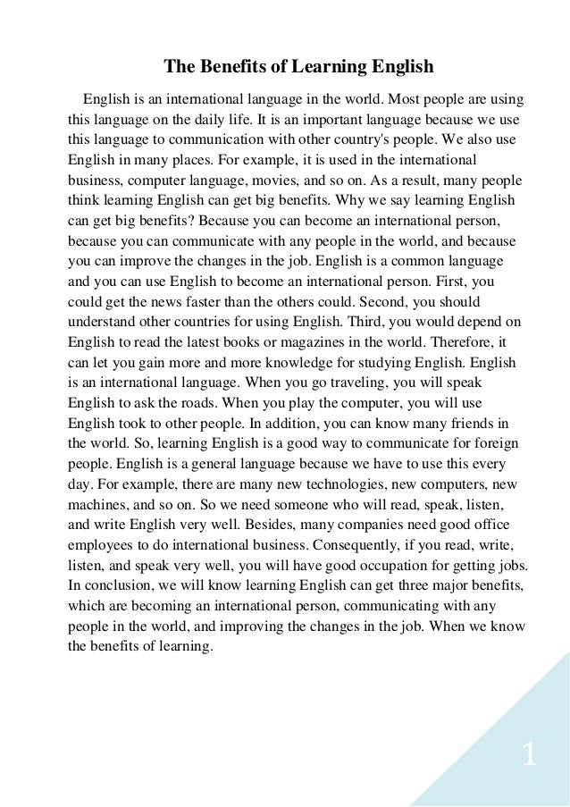 Write a paragraph about english language