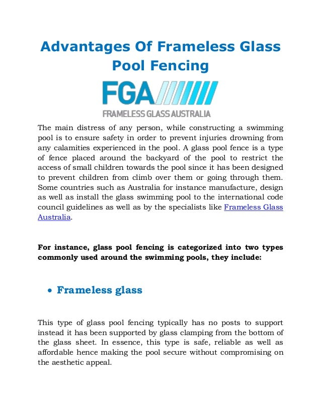 Advantages Of Frameless Glass Pool Fencing
