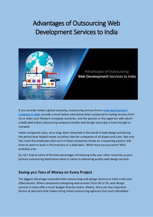 Advantages of outsourcing web development services to india