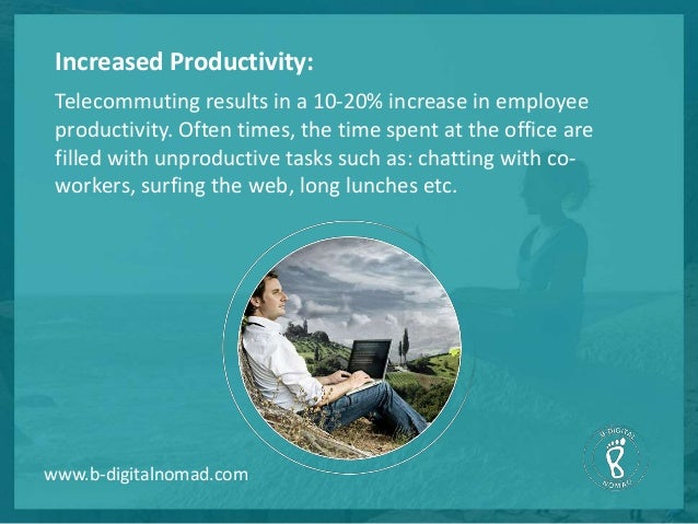 telecommuting increases productivity Check out these stats about remote work and learn how it increases worker productivity, lowers remote work and the many benefits telecommuting offers to.
