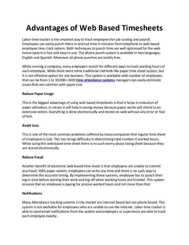 advantages of web based timesheets