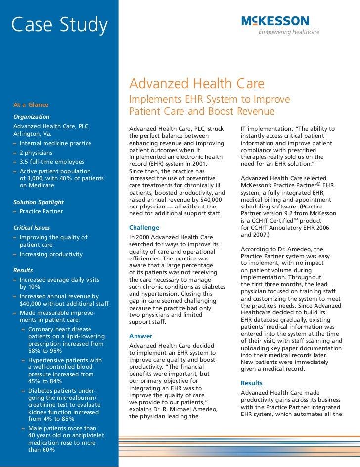 Case Study                                     Advanzed Health CareAt a Glance                                     Impleme...