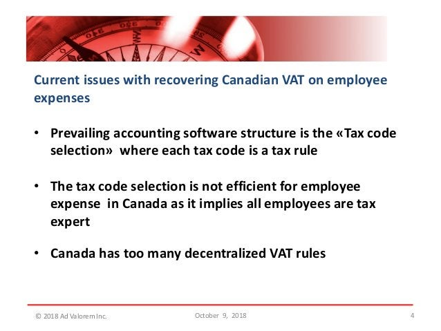 4 Current issues with recovering Canadian VAT on employee expenses • Prevailing accounting software structure is the «Tax ...