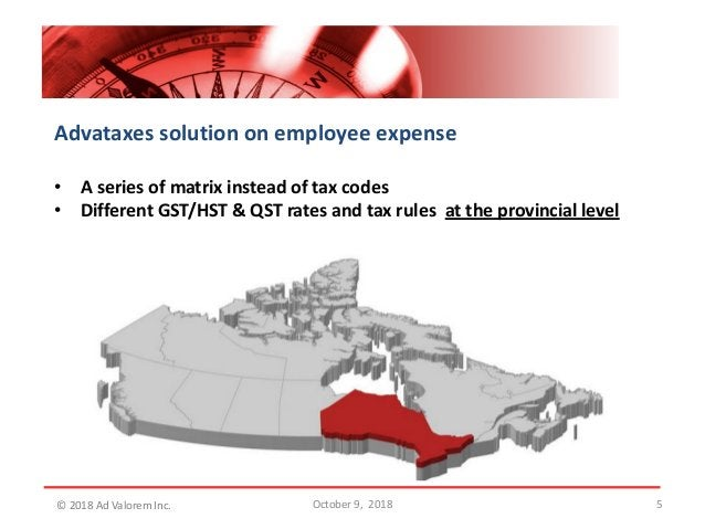 5 Advataxes solution on employee expense • A series of matrix instead of tax codes • Different GST/HST & QST rates and tax...