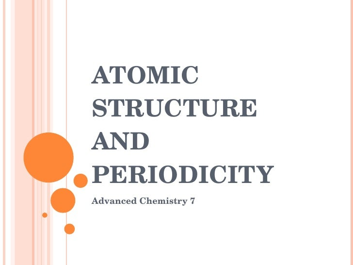 ATOMIC STRUCTURE AND PERIODICITY Advanced Chemistry 7