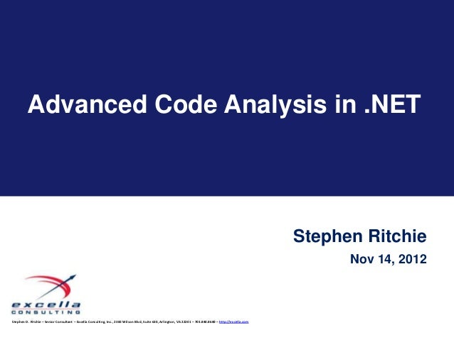 Advanced Code Analysis in .NET                                                                                            ...