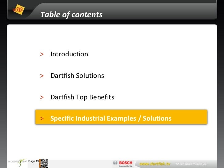 Table of contents                      > Introduction                      > Dartfish Solutions                      > Dar...