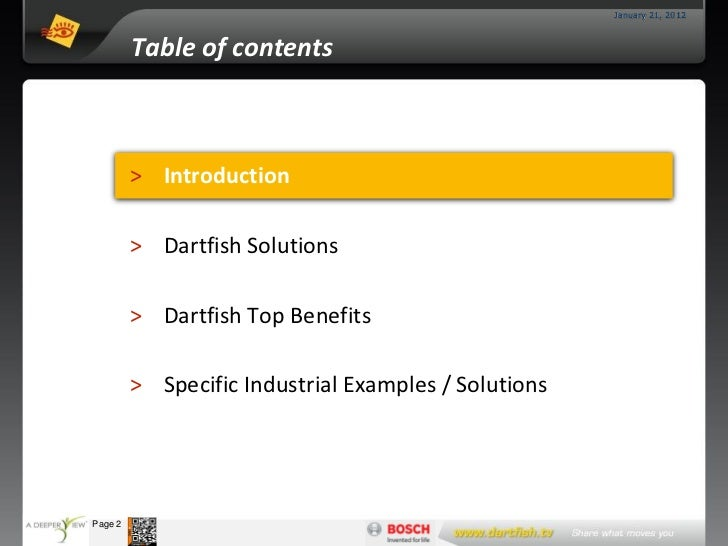 January 21, 2012                     Table of contents                     > Introduction                     > Dartfish S...