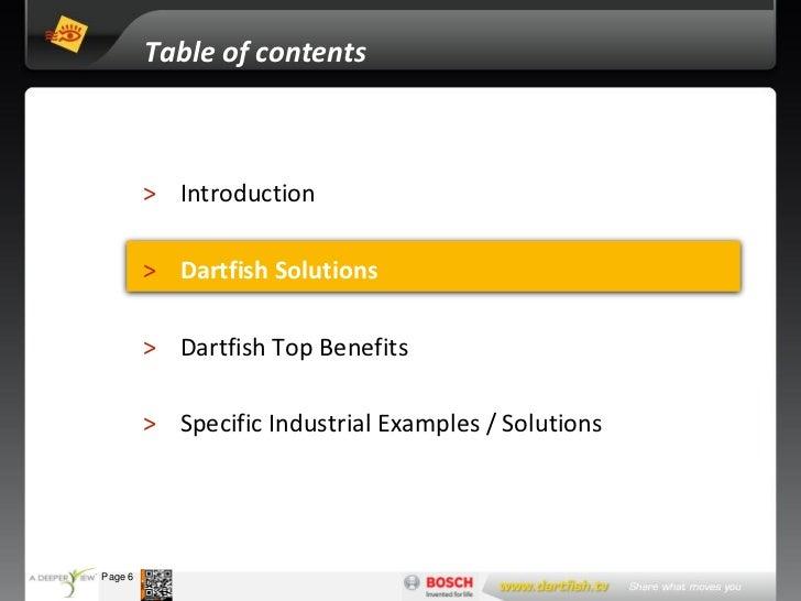 Table of contents                     > Introduction                     > Dartfish Solutions                     > Dartfi...