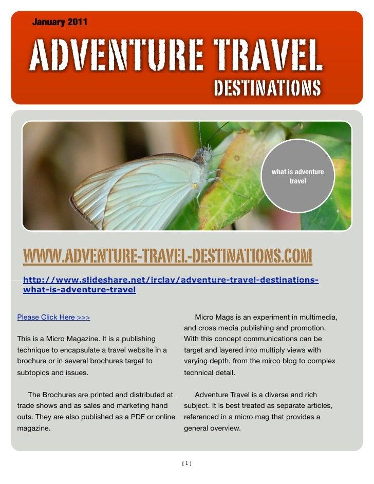 January 2011   ADVENTURE TRAVEL                                                            DESTINATIONS                   ...