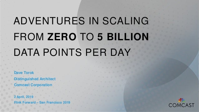 ADVENTURES IN SCALING FROM ZERO TO 5 BILLION DATA POINTS PER DAY Dave Torok Distinguished Architect Comcast Corporation 2 ...